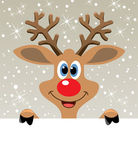 Vector red nosed reindeer holding blank paper — Stock Vector