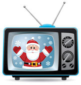 Vector santa claus in retro tv set — Stock Vector