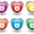 Vector lock in the heart icons — Stock Vector