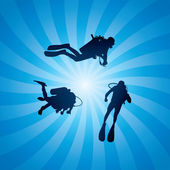 Vector scuba divers underwater — Stock Vector