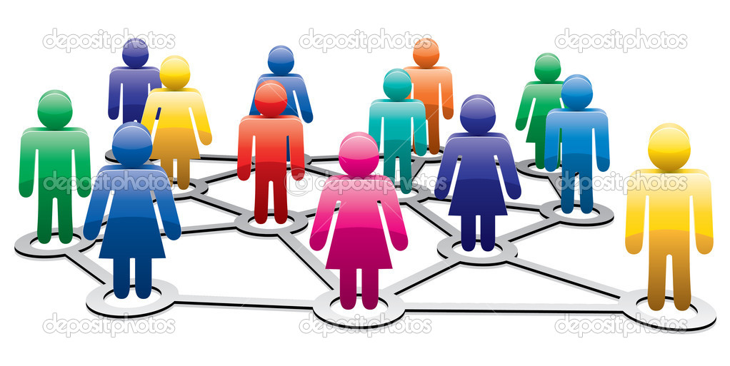 Vector colorful symbols of men and women forming business or social network — Stock Vector #8076532