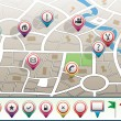 Royalty-Free Stock Vector: Vector city map with GPS icons