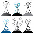 Vector radio tower symbols — Stock Vector #8202691