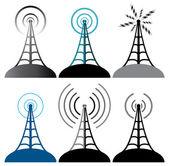 Vector radio tower symbols — Stock Vector