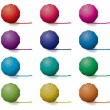 Stock Vector: Vector set of yarn balls