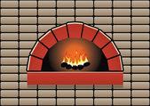Forno vettoriale con fuoco ardente — Vettoriale Stock