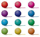 Vector set of yarn balls — Stock Vector
