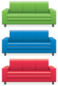 Vector colorful sofas — Stock Vector