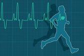 Vector heartbeat electrocardiogram and running man — Stock Vector