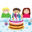 Vector happy kids at birthday party — Stock Vector #8492748