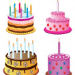 Vector birthday cakes — Stock Vector