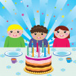 Vector happy kids at birthday party — Stock Vector #8492828