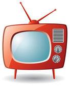 Vector red retro tv set — Stock Vector