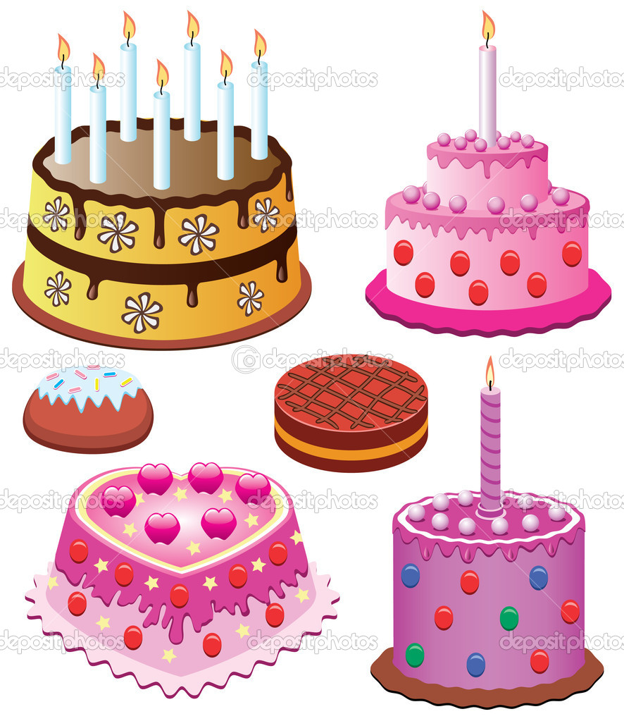 Vector sweet cakes set for birthday and valentine day — Stock Vector #8492742