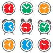 Vector set of colorful clock symbols — Stock Vector