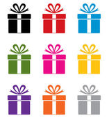 Renkli hediye kutusu simgeler vektör kümesi — Stok Vektör