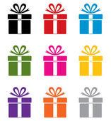 Vecteur série de symboles de boîte cadeau colorée — Vecteur