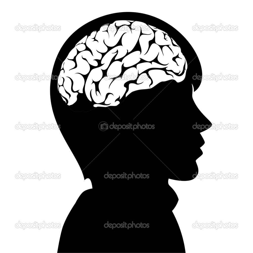 Vector illustration of a man with brain in his head — Stok Vektör #8505034