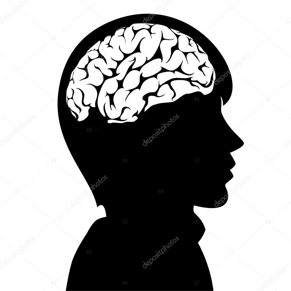 Vector illustration of a man with brain in his head — Векторная иллюстрация #8505034