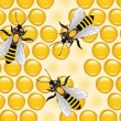 Vector working bees on honeycells — 图库矢量图片