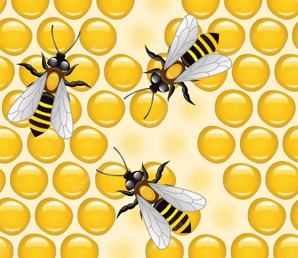 Vector working bees on honeycells  — Stock Vector #8523906