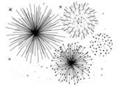 Vector black and white fireworks — Stock Vector