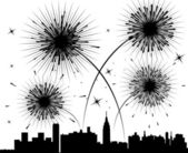 Vector fireworks over a city — Stock Vector