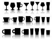 Vecteur série de tasses, grosses tasses, verres à vin — Vecteur