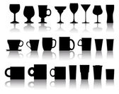 Vector set of cups, mugs, wineglasses — Vetorial Stock