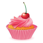 Vector cupcake with cherry — Stock Vector