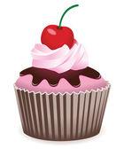Vector cupcake with cherry — Stock Vector