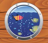 Oblò di vettore e pesci colorati — Vettoriale Stock