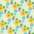 Royalty-Free Stock Vector Image: Vector background with bees and flowers