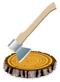 Vector axe and a wooden cut — Vector de stock
