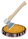 Vector de hacha y un corte de madera — Vector de stock