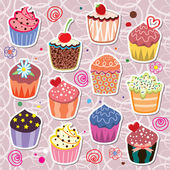 Vector colorful cupcakes — Stock Vector