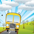 Royalty-Free Stock Vector Image: Vector school bus and sunrise