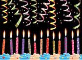 вектор день рождения свечи и растяжки — Cтоковый вектор