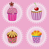 Vector retro cupcakes — Stock Vector