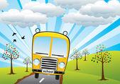 Vektor skolbussen och soluppgång — Stockvektor