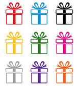 Vector colorful gift box symbols — Stock Vector