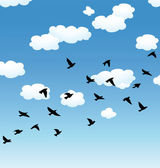 Vector flying birds y nubes en el cielo — Vector de stock