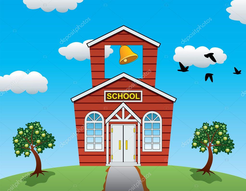 Casa de la escuela de campo de vector manzanos nubes y ave voladora vector stock dmstudio - Escuela de hosteleria casa de campo ...