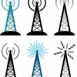 Vector radio tower symbols — Stock Vector #8893341