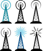Vector radio tower symbols — Stock Vector