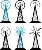 Símbolos de la torre de radio Vector — Vector de stock