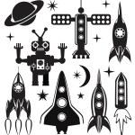 vector gestileerde ruimte symbolen — Stockvector