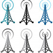 Vector radio tower symbols - Stockvektor