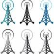 Vector radio tower symbols - Stockvectorbeeld