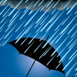Vector umbrella protection from heavy rain — Stock Vector